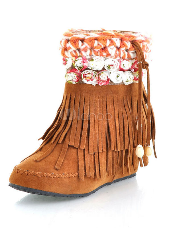 Buy Women Suede Boots Brown Moccasin Boots Round Toe Slip On Ankle Boots With Tassels for $34.19 in Milanoo store