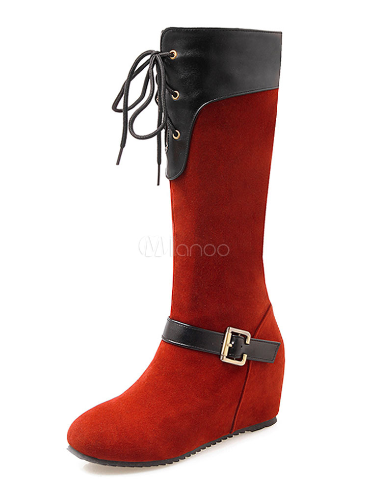 Buy Women Suede Boots Round Toe Buckle Detail Lace Up Wedge Boots Red Mid Calf Boots for $37.79 in Milanoo store
