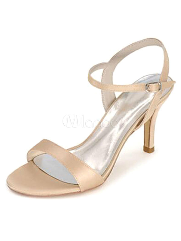 Champagne Wedding Shoes Open Toe Stiletto Bridal Sandals Milanoo Com