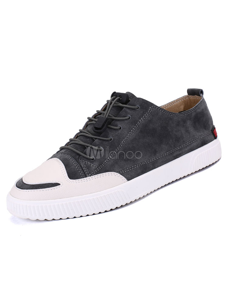 Grey Skate Shoes Pigskin Men Shoes Round Toe Lace Up Casual Shoes