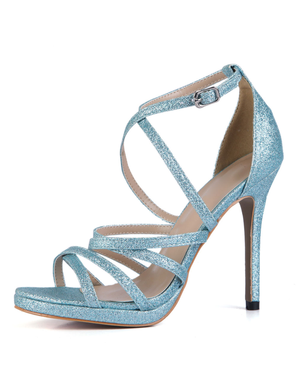 Pastel Blue Glitter Dress Sandals