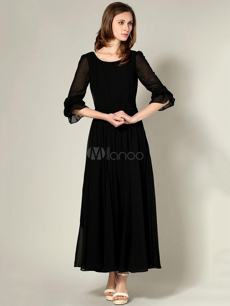8d8ad1db07b4 Women Black Maxi Dress Chiffon Long Sleeve Frill Pleated Long Party Dress-No.1  ...