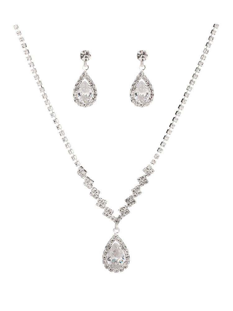Silver Wedding Jewelry Set Rhinestones Drop Necklace With Earrings