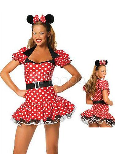 Red Minnie Costume Women Polka Dot Print Mini Dress With Headband Halloween