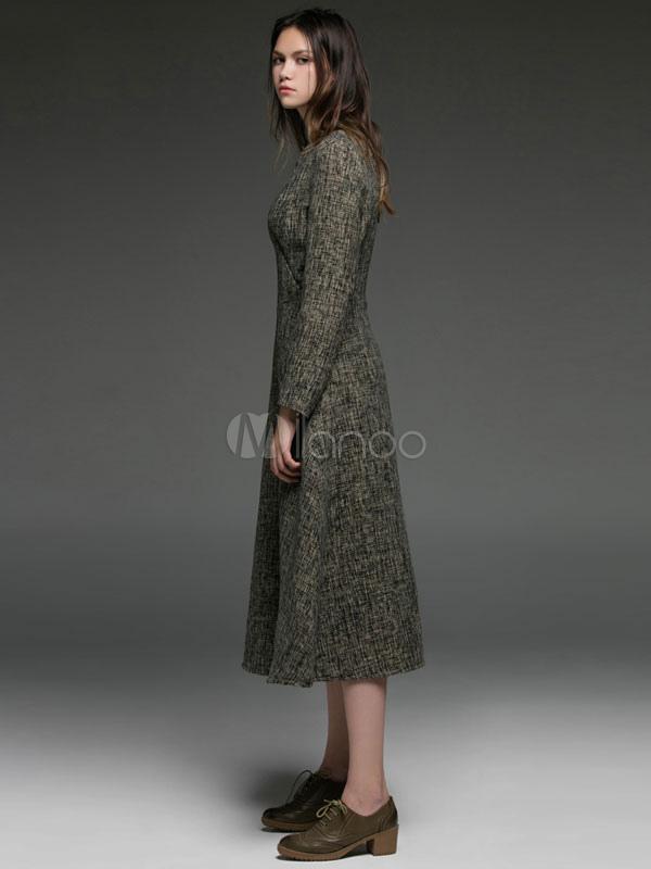 62b798a956c Шерстяное платье для женщин V с длинным рукавом - Milanoo.com ru