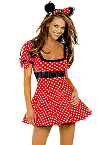 Buy Minnie Halloween Costume Red Polka Dot Print Mini Dress With Headband For Women for $18.39 in Milanoo store