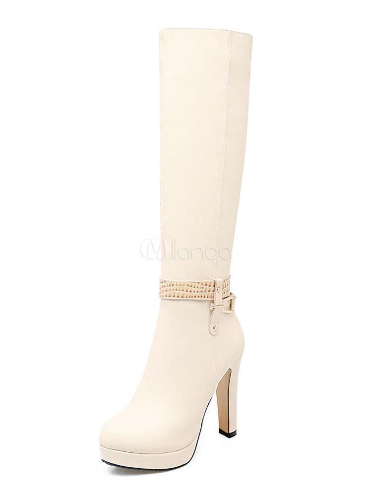 Women Knee High Boots Apricot High Heel Boots