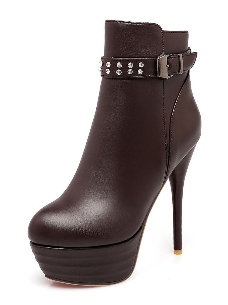 Buy Brown Ankle Boots Women High Heel Booties Platform Round Toe Rhinestones Booties for $40.49 in Milanoo store
