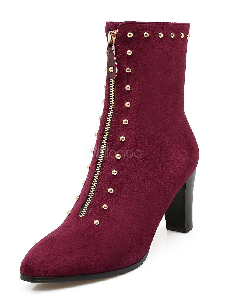 Buy Black Ankle Boots Women Suede Boots Burgundy Round Toe Rivets Metal Detail Booties for $39.59 in Milanoo store