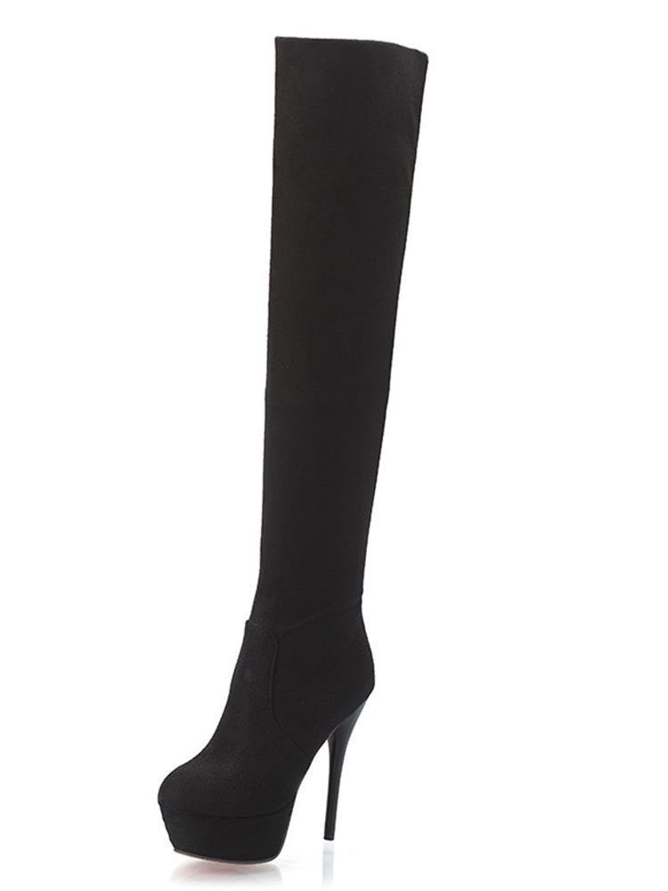 Buy Black Stretch Boots Women Thigh High Boots Platform Round Toe High Heel Over Knee Boots for $39.99 in Milanoo store
