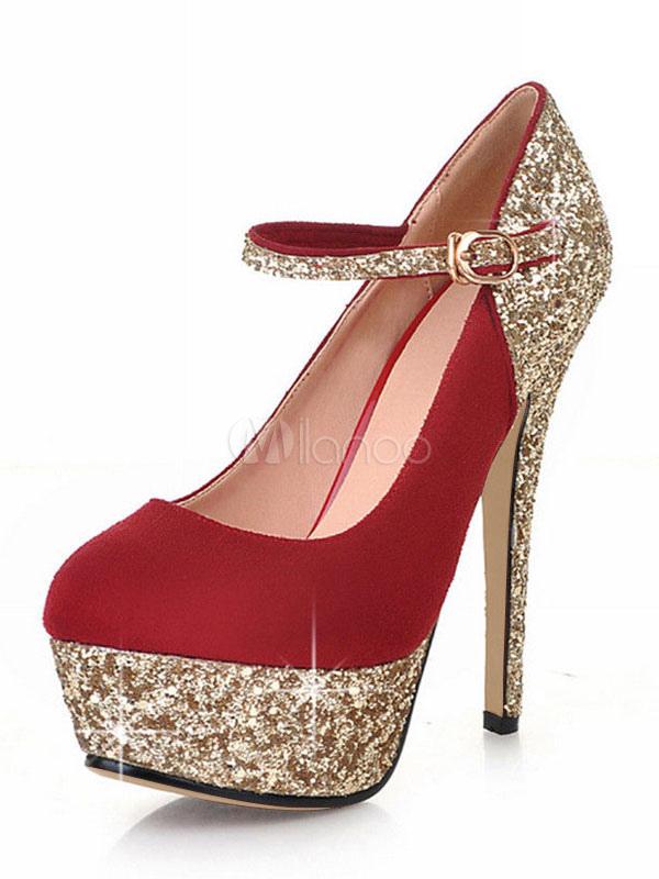 Red High Heels Women Evening Shoes Glitter Round Toe Platform Buckle Detail Heels