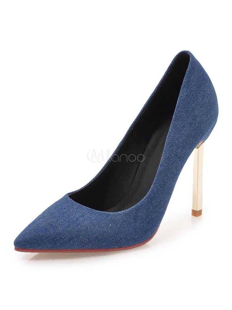 Buy Women High Heels Deep Blue Pointed Toe Heels Slip On Pumps for $54.99 in Milanoo store