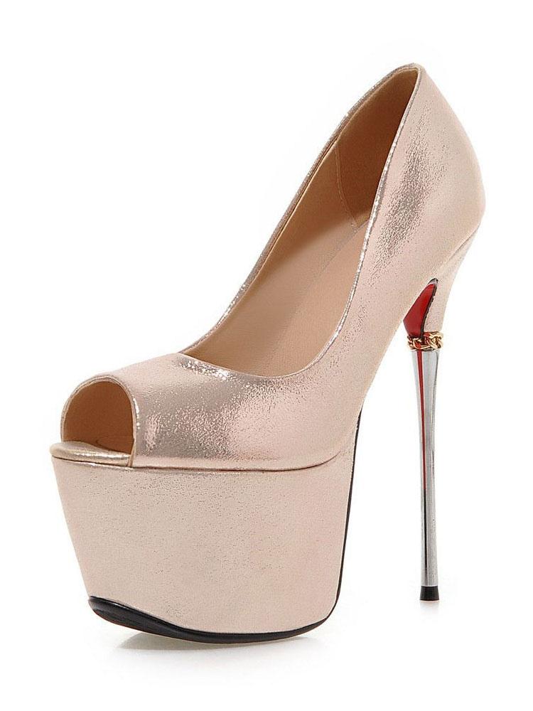 ddd4d52f8c3 Rose Gold Platform Heels Women High Heels Peep Toe Stiletto Slip On Pumps -No.