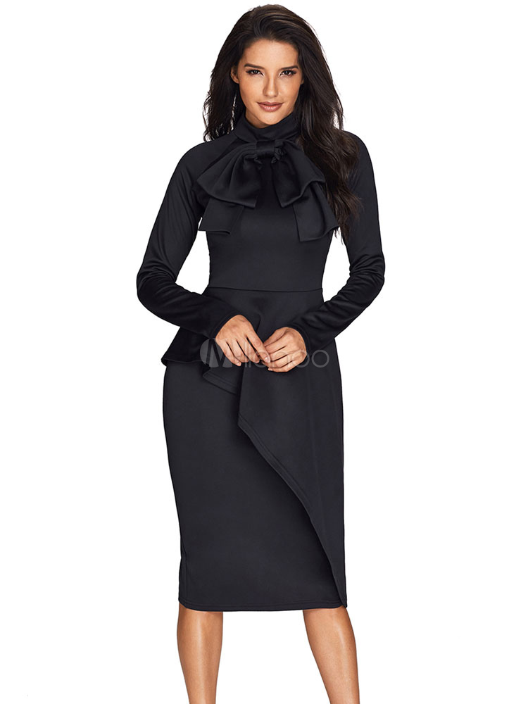 Black Bodycon Dress High Collar Long Sleeve Asymmetrical Ruffle Women Spring Dress