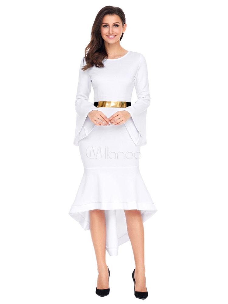 White Bodycon Dress Women Crewneck Bell Sleeve Ruffle High Low Dress