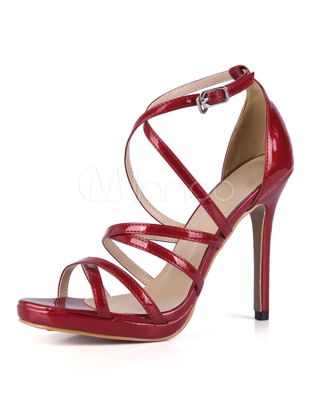 High Heel Sandals Women Shoes Burgundy