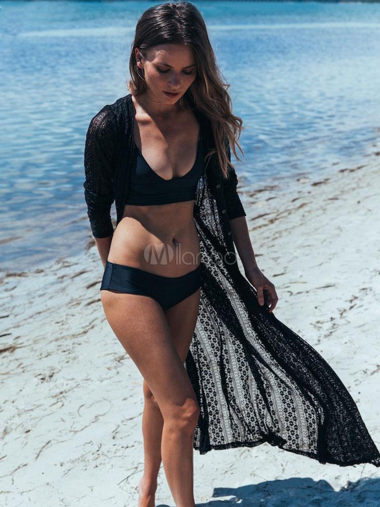 Buy Boho Cover Ups White Long Sleeve Open Front Long Beachwear For Women for $17.99 in Milanoo store