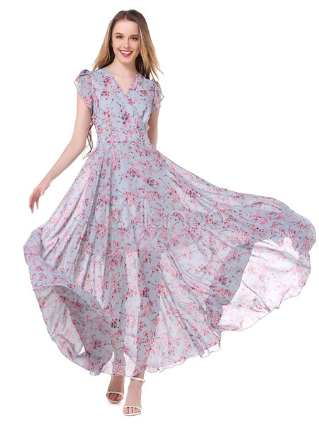 Buy Chiffon Maxi Dress Floral Print V Neck Cap Sleeve Long Flare Dress for $37.99 in Milanoo store