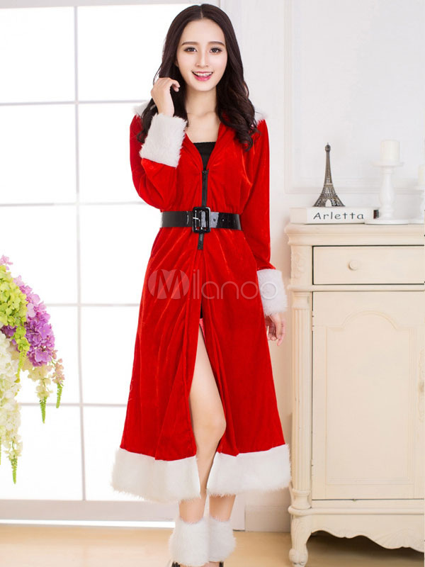 Christmas Red Santa Costume Velour Cloak With Boot Covers For Women