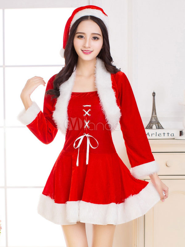 Buy Christmas Santa Costume Red Velour Two Tone Mini Dress With Hat And Jacket For Women for $32.19 in Milanoo store