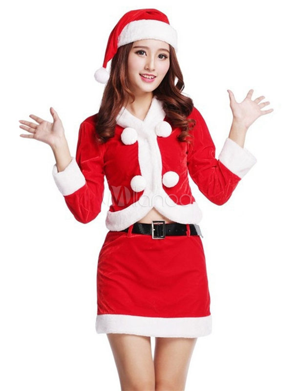 Buy Christmas Santa Clause Costume Red Velour 4 Pieces For Women for $32.19 in Milanoo store