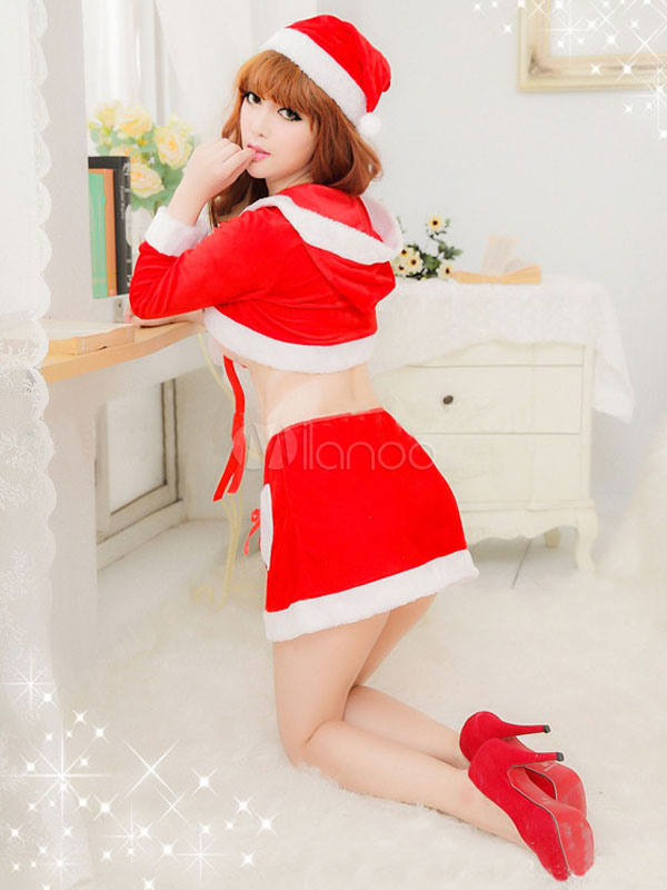 Christmas Santa Clause Costume Red Two Tone Mini Skirt