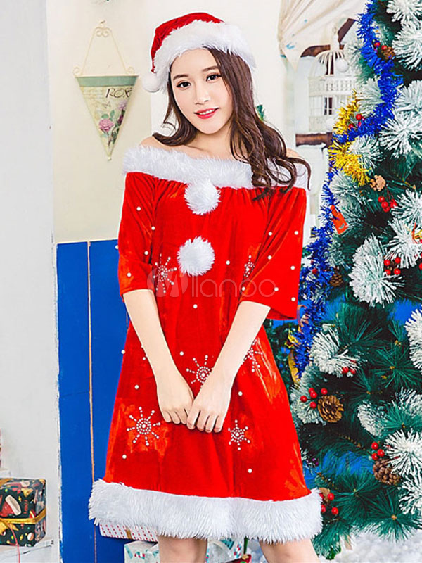 Santa Christmas Costume Red Velour Dress With Hat For Women Christmas Gift