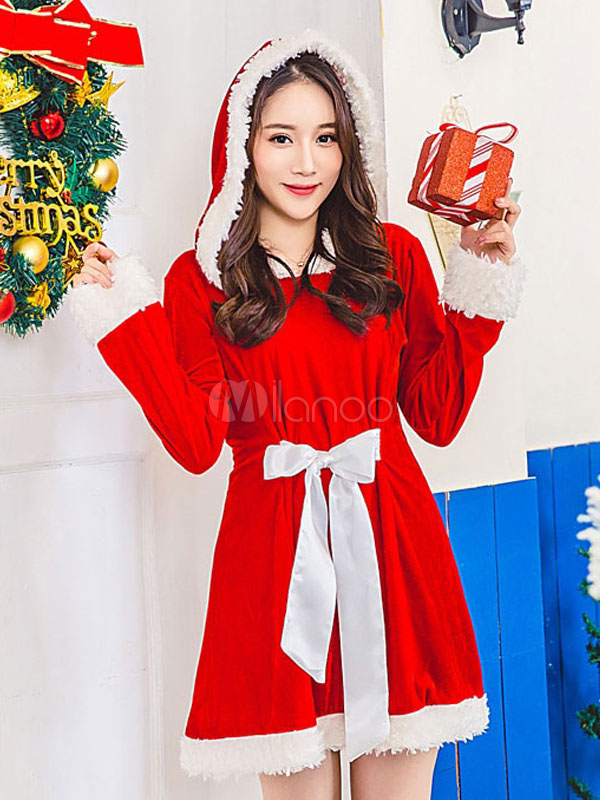Buy Santa Clause Costume Christmas Red Velour Dress For Women Christmas Gift for $45.99 in Milanoo store