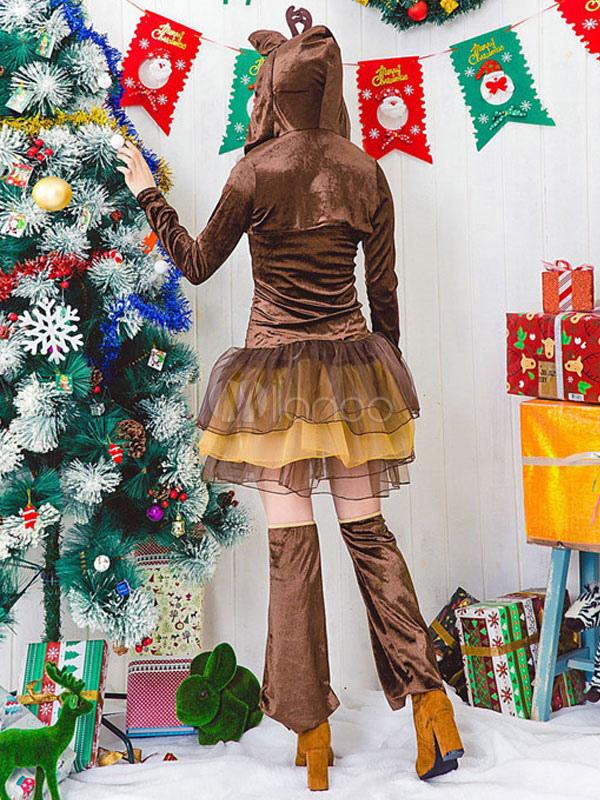 Costume da babba natale sexy marrone bicolore renna velo di simil velluto abito - Costume da bagno velluto ...