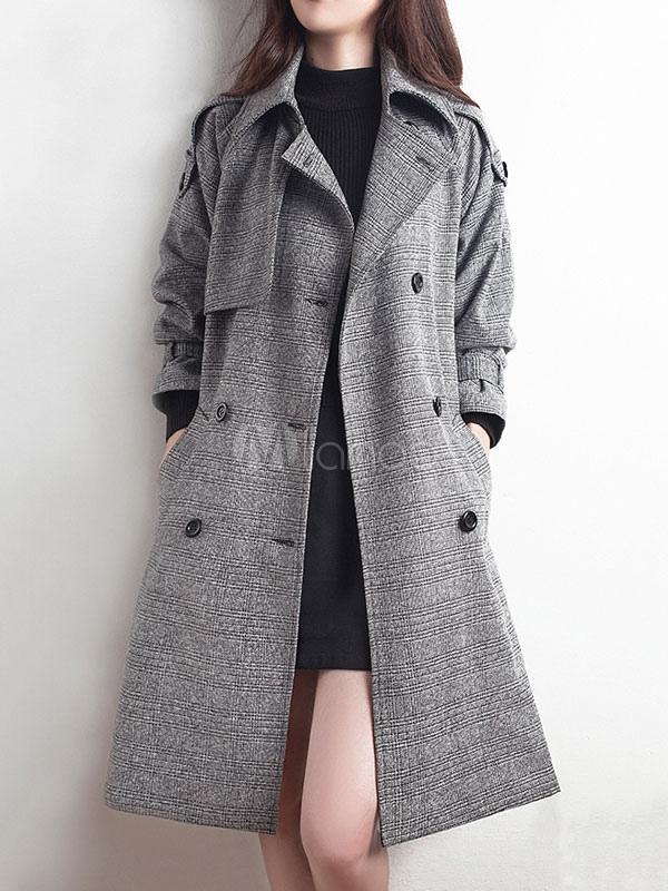 Women Trench Coat Grey Long Sleeve Turndown Collar Plaid Sash Winter Coats