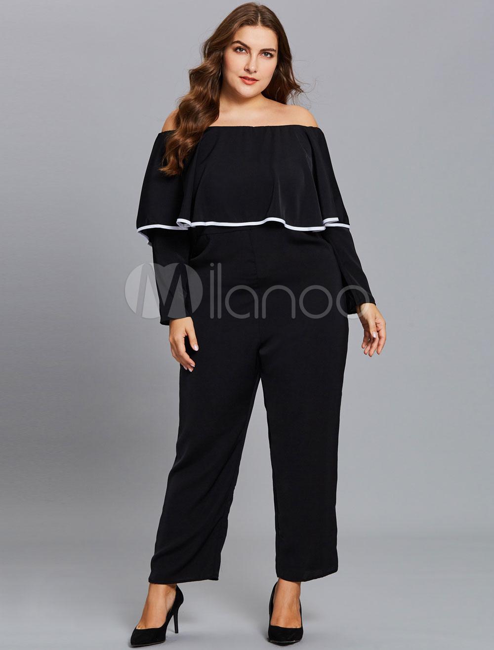 cda0b2e91ad Black Plus Size Jumpsuit Off The Shoulder Long Sleeve Ruffles ...