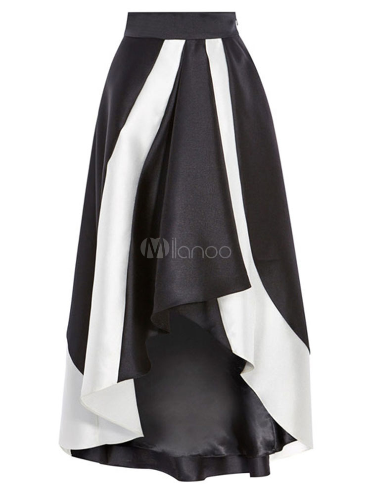 Women Black Skirt High Low Two Tone Layered Long Pleated Skirt