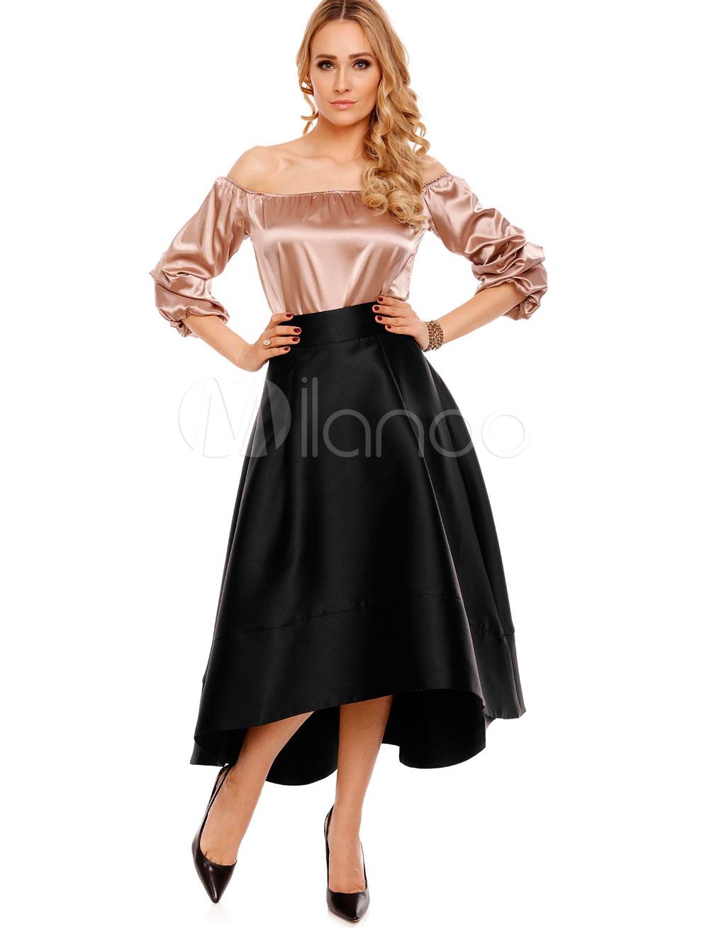 9b35ceb3cbe6 Black Vintage Skirt High Low Full Skirts For Women - Milanoo.com