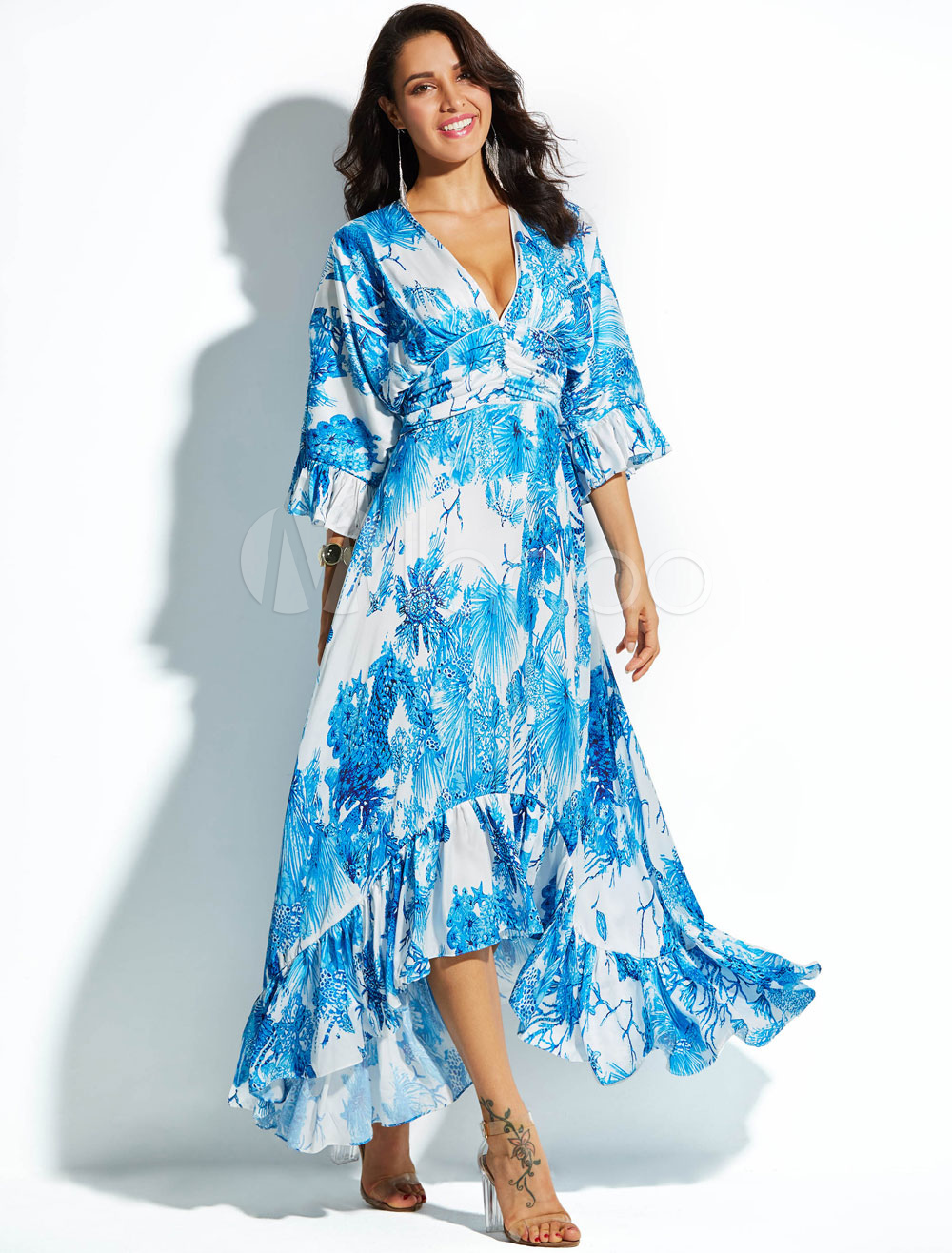 Buy Women Chiffon Dress Maxi V Neck Half Sleeve Floral Print Ruffle Asymmetrical Design Blue Boho Long Dress for $52.24 in Milanoo store