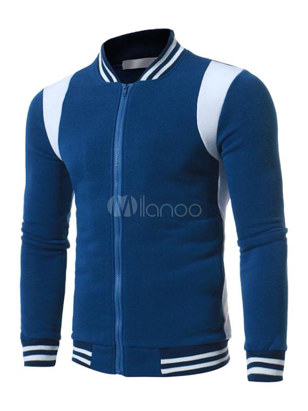 Buy Deep Blue Bomber Jacket Men Short Jacket Stand Collar Long Sleeve Zip Up Sport Jacket for $26.99 in Milanoo store