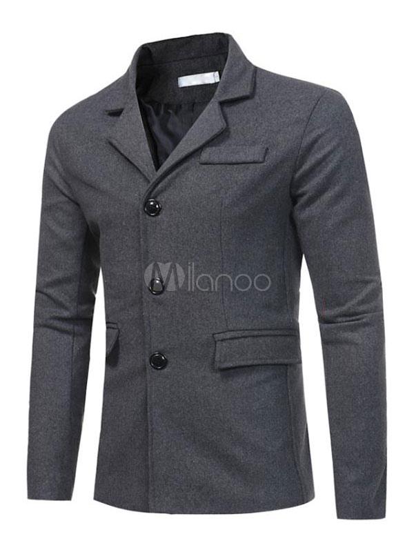 Grey Men Jacket Casual Blazer Deep Grey Turndown Collar Long Sleeve Short Jacket