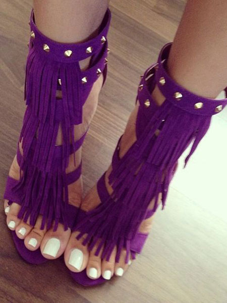 Buy Women Sexy Shoes High Heel Sandals Purple Open Toe T Type Buckle Detail Sandal Shoes With Tassels for $59.99 in Milanoo store
