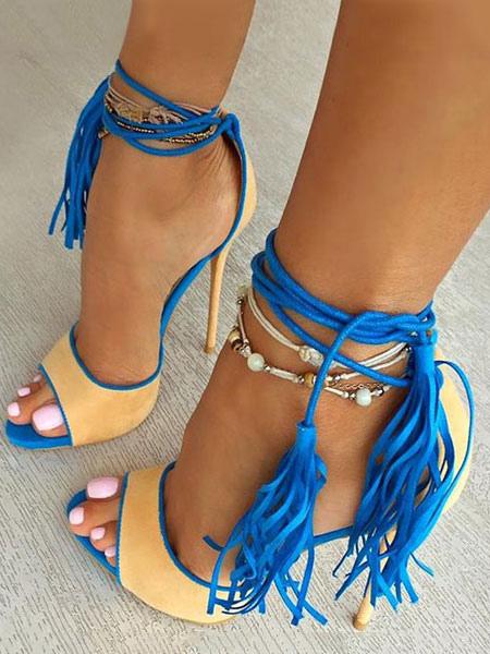 Pour Femme Été En Avec Sandales Bleu Frange Mode Suède CQBshrxtd