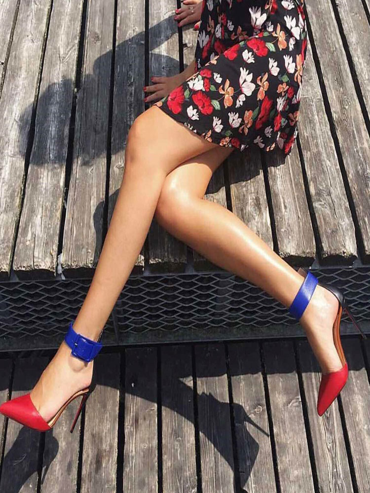 Buy Women High Heels Pointed Toe Heels Red Buckle Detail Sandal Shoes for $54.99 in Milanoo store