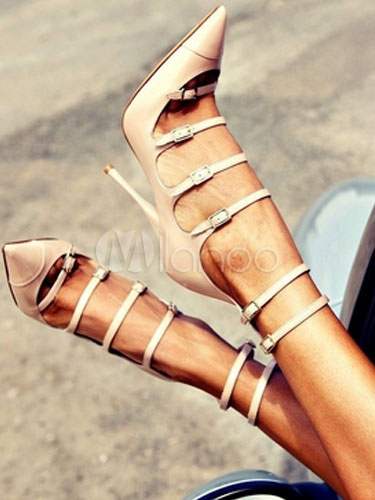 Buy Women High Heels Pointed Toe Heels Apricot Buckle Detail Strappy Shoes for $55.79 in Milanoo store