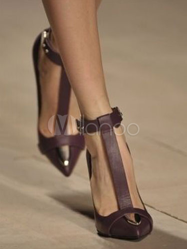 I saw it on Milanoo.comWomen High Heels Pointed Toe Heels Tan T Type Ankle Strap Heels