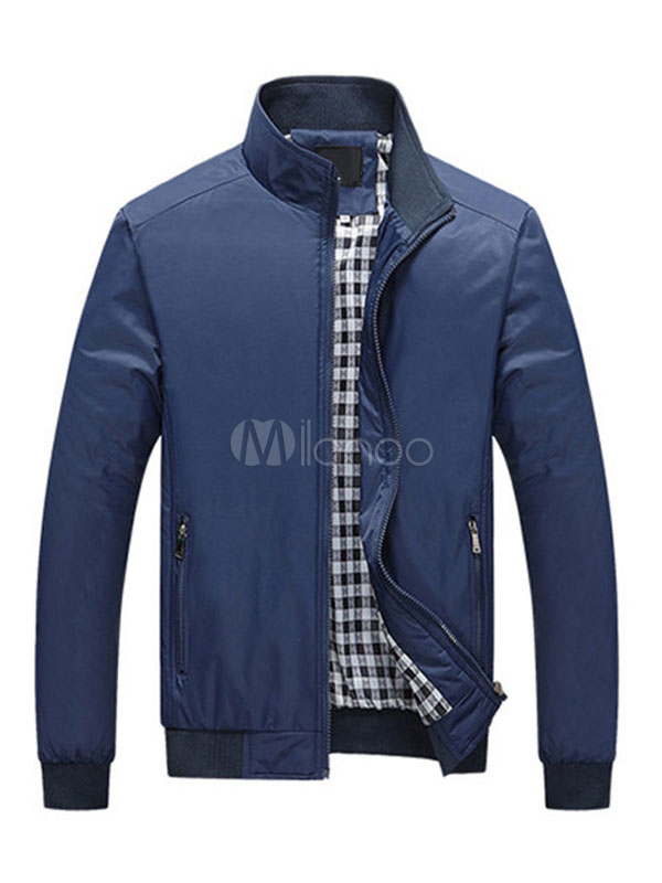 Buy Blue Men Jacket Stand Collar Long Sleeve Slim Fit Spring Jacket Short Jacket for $23.74 in Milanoo store