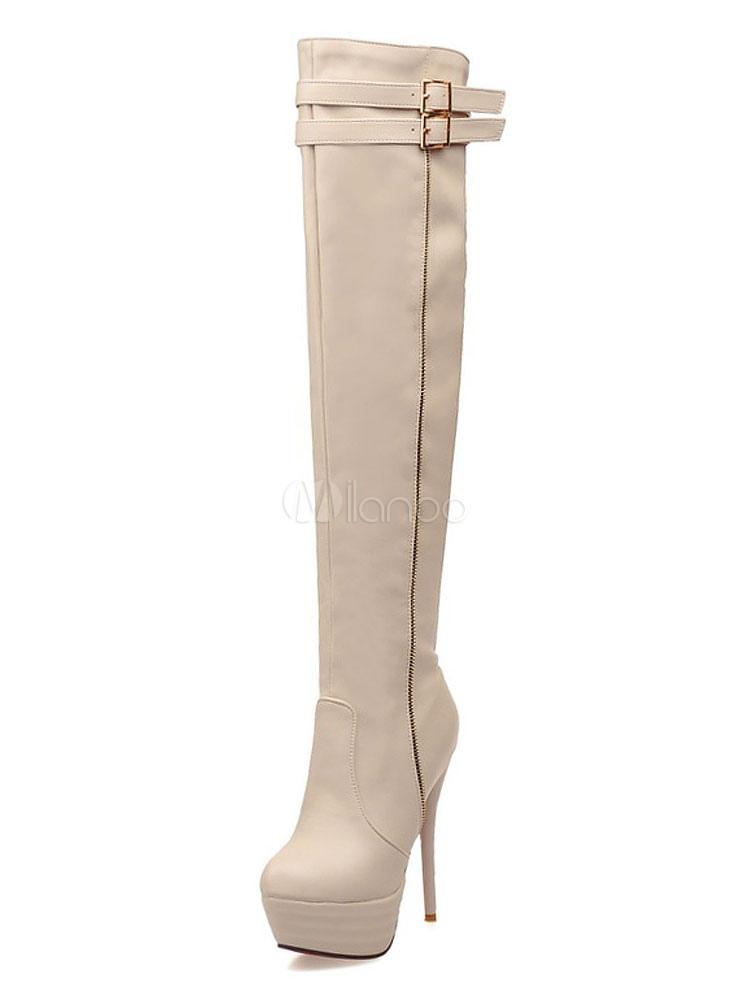 High Heel Boots Women Over Knee Boots Ecru White Platform Buckle Detail Thigh High Boots