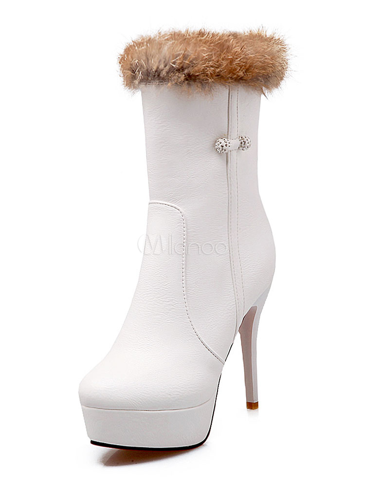 Buy White Ankle Boots High Heel Booties Round Toe Platform Winter Boots For Women for $42.29 in Milanoo store