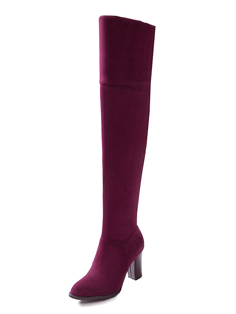 Burgundy Suede Boots Women Over Knee Boots Round Toe High Heel Boots