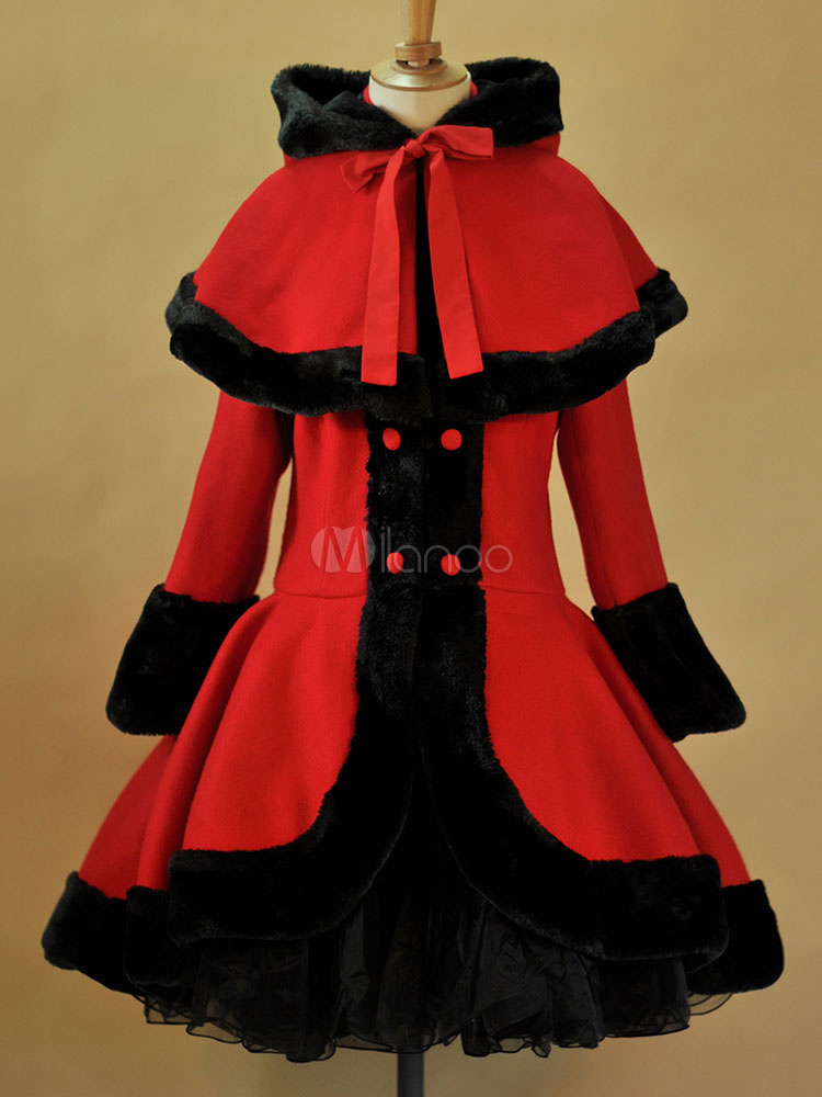 Buy Classic Lolita Outfits Red Long Sleeve Winter Wool Coat With Hooded Cape for $149.99 in Milanoo store