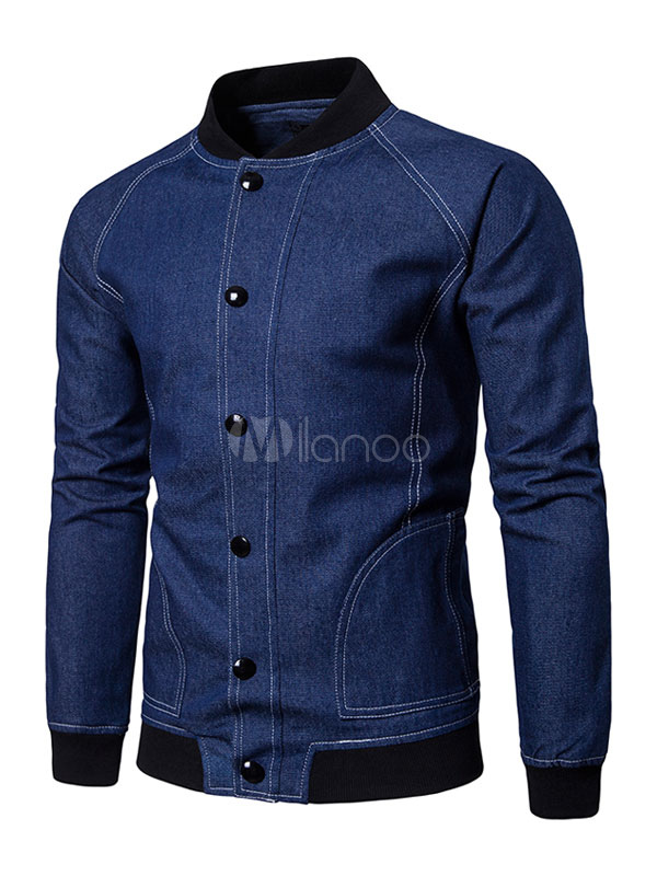 Buy Men Denim Jacket Bomber Jacket Blue Stand Collar Long Sleeve Short Jacket for $39.99 in Milanoo store
