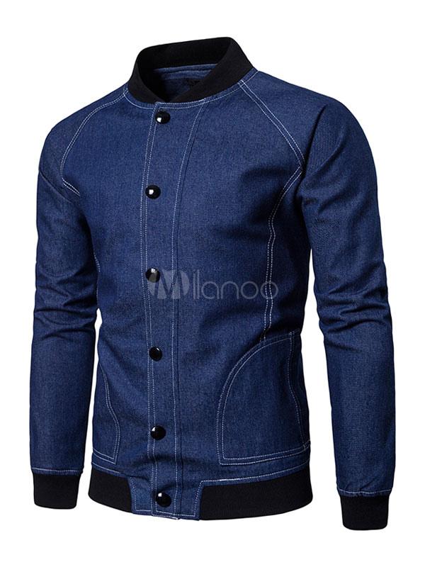 Buy Men Denim Jacket Bomber Jacket Blue Stand Collar Long Sleeve Short Jacket for $39.99 in Milanoo store