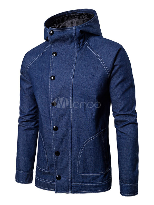 Buy Men Denim Jacket Blue Short Jacket Hooded Long Sleeve Regular Fit Spring Jacket for $39.99 in Milanoo store