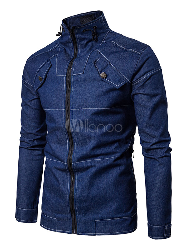 Buy Men Jacket Blue Denim Jacket Stand Collar Long Sleeve Zip Up Short Jacket for $39.99 in Milanoo store